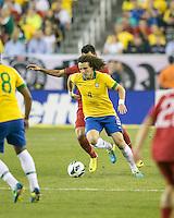 Brazil defender David Luiz (4).  In an International friendly match Brazil defeated Portugal, 3-1, at Gillette Stadium on Sep 10, 2013.