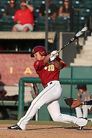 A.J. Ramirez #10 of the Southern California Trojans bats against the Oregon State Beavers at Dedeaux Field on May 23, 2014 in Los Angeles, California. Southern California defeated Oregon State, 4-2. (Larry Goren/Four Seam Images)