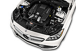 Car Stock 2018 Mercedes Benz CLS-Class AMG-CLS63-4MATIC 4 Door Sedan Engine  high angle detail view