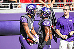 TCU Horned Frogs wide receiver Josh Doctson (9) and TCU Horned Frogs running back Aaron Green (22) in action during the game between the Texas Tech Red Raiders and the TCU Horned Frogs at the Amon G. Carter Stadium in Fort Worth, Texas. TCU defeats Texas Tech 82 to 27.
