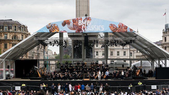 A free open-air concert in the heart of London, Sunday, 15th of August 2020. A giant temporary stage in the Square will host Sir Simon Rattle and the London Symphony Orchestra, joined by young musicians from the pioneering LSO East London Academy and teenage violin prodigy Leia Zhu, guest soloist for Saint-Saëns' great showpiece, Introduction and Rondo capriccioso. Photo: AMMP/Maciek Musialek