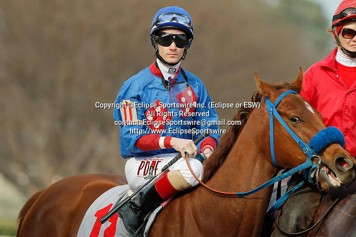 Jockey Channing Hill aboard the #11 Sugar Shock before the running of the Honeybee Stakes (Grade III) at Oaklawn Park in Hot Springs, Arkansas-USA on March 8, 2014. (Credit Image: © Justin Manning/Eclipse/ZUMAPRESS.com)