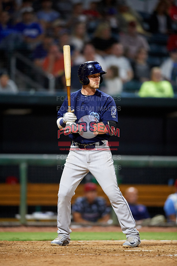 Mobile BayBears third baseman Taylor Ward (7) at bat during a game against the Jacksonville Jumbo Shrimp on April 14, 2018 at Baseball Grounds of Jacksonville in Jacksonville, Florida.  Mobile defeated Jacksonville 13-3.  (Mike Janes/Four Seam Images)