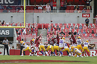 LSU place kicker Cade York (36) kicks a field goal, Saturday, November 21, 2020 during the third quarter of a football game at Donald W. Reynolds Razorback Stadium in Fayetteville. Check out nwaonline.com/201122Daily/ for today's photo gallery. <br /> (NWA Democrat-Gazette/Charlie Kaijo)