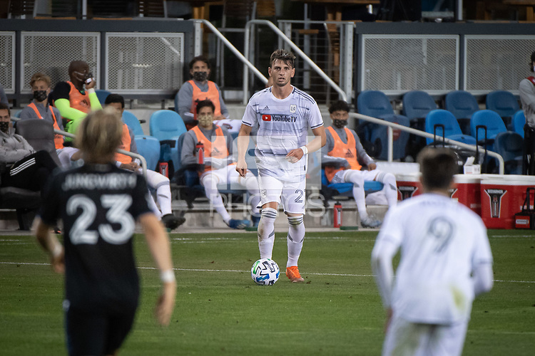 SAN JOSE, CA - NOVEMBER 04: Tristan Blackmon #27 of the Los Angeles FC prepares to pass the ball during a game between Los Angeles FC and San Jose Earthquakes at Earthquakes Stadium on November 04, 2020 in San Jose, California.