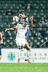 SC Kitchee Defender Kin Man Tong (R) battles with Auckland City Forward Micah Lea Alafa (L) during the Nike Lunar New Year Cup 2017 match between SC Kitchee (HKG) and Auckland City FC (NZL) on January 31, 2017 in Hong Kong, Hong Kong. Photo by Marcio Rodrigo Machado / Power Sport Images