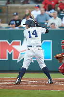Nelson Gomez (14) of the Pulaski Yankees at bat against the Greeneville Reds at Calfee Park on June 23, 2018 in Pulaski, Virginia. The Reds defeated the Yankees 6-5.  (Brian Westerholt/Four Seam Images)
