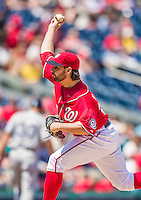 26 April 2014: Washington Nationals pitcher Tanner Roark on the mound against the San Diego Padres at Nationals Park in Washington, DC. Roark pitched his first complete game, 3-hit shutout as the Nationals defeated the Padres 4-0 to take the third game of their 4-game series. Mandatory Credit: Ed Wolfstein Photo *** RAW (NEF) Image File Available ***