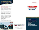 Advertising brochure for California Cartage warehouse facility and trucking operations in the Port of Long Beach