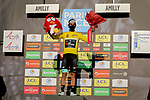 Michael Matthews (AUS) Team BikeExchange takes over the race leaders Yellow Jersey and at the end of Stage 2 of Paris-Nice 2021, running 188km from Oinville-sur-Montcient to Amilly, France. 8th March 2021.<br /> Picture: ASO/Fabien Boukla | Cyclefile<br /> <br /> All photos usage must carry mandatory copyright credit (© Cyclefile | ASO/Fabien Boukla)