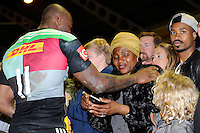 Ugo Monye of Harlequins hugs his mother after scoring two tries and winning Man of the Match during his final home game for Harlequins at the Stoop