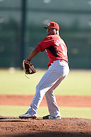 Cincinnati Reds pitcher El'Hajj Muhammad (53) during an Instructional League game against the Kansas City Royals on October 16, 2014 at Goodyear Training Complex in Goodyear, Arizona.  (Mike Janes/Four Seam Images)