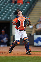 Caleb Knight (5) of the Virginia Cavaliers chases a fly ball against the Duke Blue Devils in Game Seven of the 2017 ACC Baseball Championship at Louisville Slugger Field on May 25, 2017 in Louisville, Kentucky. The Blue Devils defeated the Cavaliers 4-3. (Brian Westerholt/Four Seam Images)