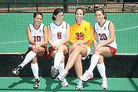 STANFORD, CA - AUGUST 14:  Stephanie Byrne, Katie Mitchell, Beth Ridley, and Devon Holman of the Stanford Cardinal women's field hockey team during picture day on August 14, 2009 in Stanford, California.