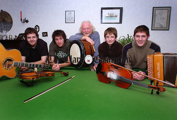 O'Dailigh Family from left Cillian,Fionn, Tomas, Sean and Oisin pictured in their home in Blackwater.Pic Arthur Ellis.