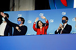President of Community of Madrid and Candidate Isabel Diaz Ayuso celebrates with Pablo Casado (r), President of the Popular Party and Jose Luis Martinez-Almeida (l), Mayor of Madrid, the victory in the Madrid regional elections at the PP headquarters on May 04, 2021 in Madrid, Spain.(AlterPhotos/Ramiro Ellis)