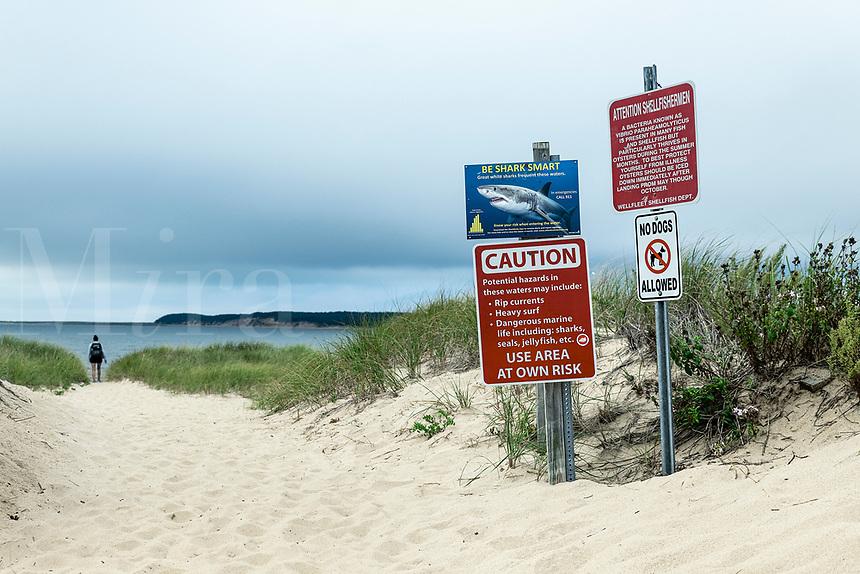 Shark warning and beach advisory, Wellfleet, Cape Cod, Massachusetts, USA