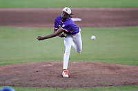 Keyshawn Askew (19) of the Clemson Tigers in Game 1 of the Orange-Purple intrasquad scrimmage series on Friday, November 20, 2020, at Doug Kingsmore Stadium in Clemson, South Carolina. Orange won, 9-2. (Tom Priddy/Four Seam Images)