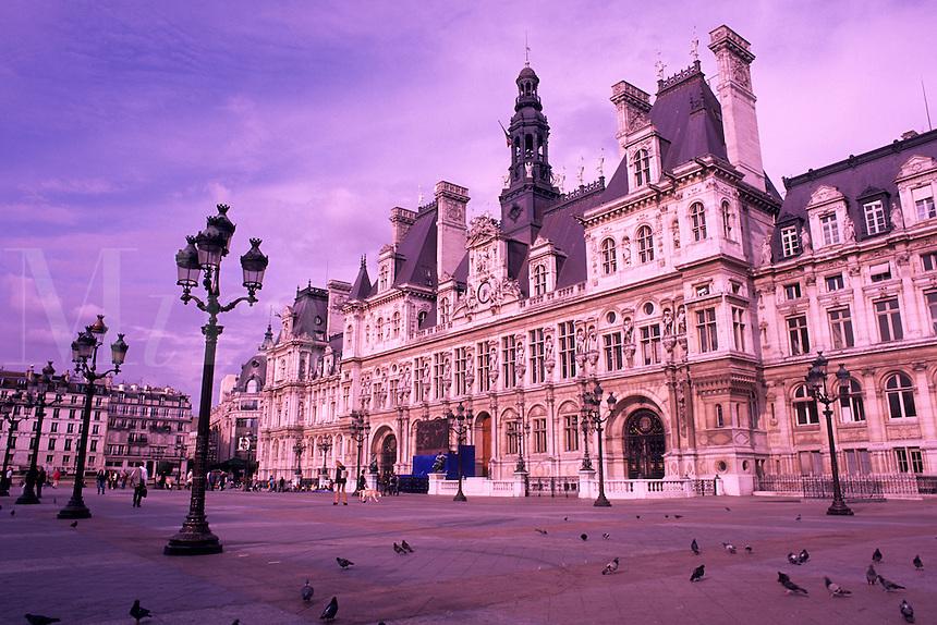 famous square near the Hotel de Ville Paris France