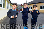 Junior infants Zeus Bieleka, Levi Heaslip and Luke McCarthy at their first day in St John's NS in Ashe Street on Monday