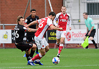 Lincoln City's Harry Anderson battles with Fleetwood Town's Sam Stubbs<br /> <br /> Photographer Chris Vaughan/CameraSport<br /> <br /> The EFL Sky Bet League One - Fleetwood Town v Lincoln City - Saturday 17th October 2020 - Highbury Stadium - Fleetwood<br /> <br /> World Copyright © 2020 CameraSport. All rights reserved. 43 Linden Ave. Countesthorpe. Leicester. England. LE8 5PG - Tel: +44 (0) 116 277 4147 - admin@camerasport.com - www.camerasport.com