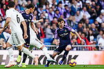 Laureano Antonio Villa Suarez, Toni, of Real Valladolid (R) is tackled by Sergio Ramos of Real Madrid during the La Liga 2018-19 match between Real Madrid and Real Valladolid at Estadio Santiago Bernabeu on November 03 2018 in Madrid, Spain. Photo by Diego Souto / Power Sport Images