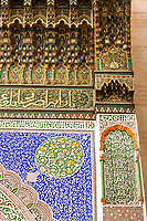Fes, Morocco.  Stucco Floral and Wooden Decoration inside the Mausoleum of Moulay Idris II.