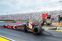 Jul 19, 2020; Clermont, Indiana, USA; NHRA top fuel driver Billy Torrence during the Summernationals at Lucas Oil Raceway. Mandatory Credit: Mark J. Rebilas-USA TODAY Sports