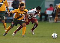 Paulo Nagamura, left, Carlos Ruiz, right, L.A. Galaxy vs FC Dallas, L.A. won 2-0.