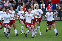 18 November 2007: Kristin Stannard, Kelley O'Hara, Christen Press, Alicia Jenkins, Shari Summers, Lizzy George, April Wall, and Rachel Buehler during Stanford's 1-1 double overtime shootout win over California in the second round of the NCAA Division 1 Women's Soccer Championships at Laird Q. Cagan Stadium in Stanford, CA.