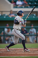 Fort Myers Miracle second baseman Travis Blankenhorn (7) follows through on a swing during a game against the Lakeland Flying Tigers on August 7, 2018 at Publix Field at Joker Marchant Stadium in Lakeland, Florida.  Fort Myers defeated Lakeland 5-0.  (Mike Janes/Four Seam Images)