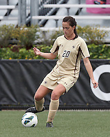 Boston College defender Zoe Lombard (20) passes the ball. Pepperdine University defeated Boston College,1-0, at Soldiers Field Soccer Stadium, on September 29, 2012.