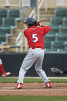 Dalton Guthrie (5) of the Lakewood BlueClaws at bat against the Kannapolis Intimidators at Kannapolis Intimidators Stadium on April 8, 2018 in Kannapolis, North Carolina.  The Intimidators defeated the BlueClaws 4-3 in game two of a double-header.  (Brian Westerholt/Four Seam Images)