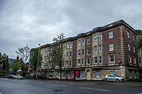 Pictured: Belgrave Court where Arthur Brown used to live, Swansea, Wales, UK. Thursday 13 June 2019<br /> Re: It has been 100 years since British aviators John Alcock and Arthur Brown made the first non-stop transatlantic flight in June 1919. They flew a modified First World War Vickers Vimy bomber from St. John's, Newfoundland, to Clifden, Connemara, County Galway, Ireland.<br /> They took off at around 1:45 p.m. on 14 June and crash-landed at 8:40 a.m. on 15 June 1919 in Ireland.<br /> During the flight, the wind-driven electrical generator failed, depriving them of radio contact, their intercom and heating. An exhaust pipe burst shortly afterwards, causing a frightening noise which made conversation impossible without the failed intercom.<br /> Alcock twice lost control of the aircraft and nearly hit the sea after a spiral dive. He also had to deal with a broken trim control that made the plane become very nose-heavy as fuel was consumed.