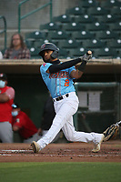Jeremy Arocho (2) of the Inland Empire 66ers bats against the Fresno Grizzlies at San Manuel Stadium on May 25, 2021 in San Bernardino, California. (Larry Goren/Four Seam Images)