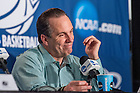 Mar. 21, 2015; Head coach Mike Brey answers questions at the press conference following the third round game of the NCAA Tournament. Notre Dame defeated Butler 67-64 in overtime. (Photo by Matt Cashore/University of Notre Dame)