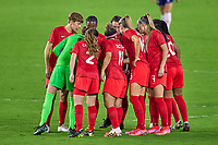 18th February 2021, Orlando, Florida, USA;  Canada's starting eleven gather in a huddle during a SheBelieves Cup game between Canada and the United States on February 18, 2021 at Exploria Stadium in Orlando, FL.