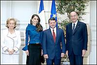 Le roi Abdela II de Jordanie et la reine Rania au Palais de l'ElysÈe avec Jacques et Bernadette CHIRAC. #