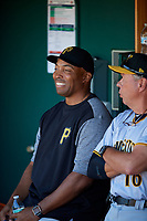 Bradenton Marauders Kevin Young in the dugout with Butch Wynegar (16) before the first game of a doubleheader against the Lakeland Flying Tigers on April 11, 2018 at Publix Field at Joker Marchant Stadium in Lakeland, Florida.  Lakeland defeated Bradenton 5-4.  (Mike Janes/Four Seam Images)