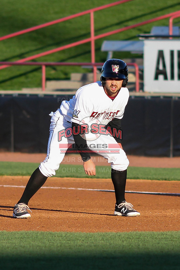Wisconsin Timber Rattlers catcher Mitch Ghelfi (9) leads off first during a Midwest League game against the Great Lakes Loons on April 26th, 2016 at Fox Cities Stadium in Appleton, Wisconsin.  Wisconsin defeated Great Lakes 4-3. (Brad Krause/Four Seam Images)