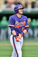 Clemson Tigers left fielder Seth Beer (28) walks to first base after being hit by a pitch during a game against the Notre Dame Fighting Irish at Doug Kingsmore Stadium on March 11, 2017 in Clemson, South Carolina. The Tigers defeated the Fighting Irish 6-5. (Tony Farlow/Four Seam Images)