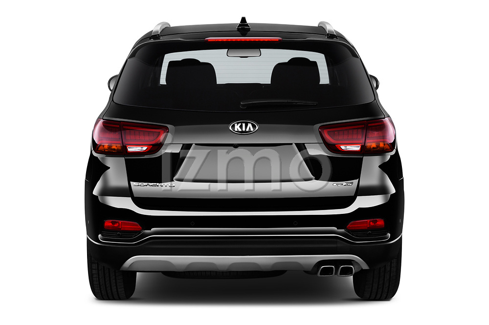 Straight rear view of a 2018 KIA Sorento GT Line 5 Door SUV stock images