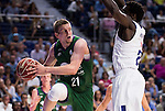 Real Madrid's player Othello Hunter and Unicaja Malaga's player Adam Waczynski during match of Liga Endesa at Barclaycard Center in Madrid. September 30, Spain. 2016. (ALTERPHOTOS/BorjaB.Hojas)