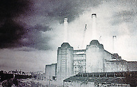 London: Battersea Power Station, Rendering. Supposed to be a Theme Park by May, 1990. Work halted--deterioration. (From Time Out, 1 10A7, 90)