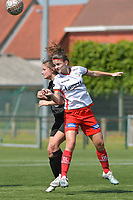 Amber De Priester (6) of Zulte Waregem and Kenza Vrithof (9) of Woluwe  pictured during a female soccer game between SV Zulte - Waregem and White Star Woluwe on the 10 th and last matchday in play off 2 of the 2020 - 2021 season of Belgian Scooore Womens Super League , saturday 29 of May 2021  in Zulte , Belgium . PHOTO SPORTPIX.BE | SPP | DIRK VUYLSTEKE