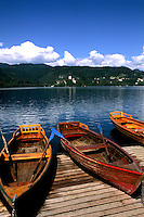Slovenia Lake Bled Boats color in resort town of Bled Slovenia