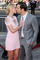 HOLLYWOOD, LOS ANGELES, CA, USA - JUNE 17: Actors Anna Camp and Skylar Astin kissing at the Los Angeles Premiere Of HBO's 'True Blood' Season 7 held at the TCL Chinese Theatre on June 17, 2014 in Hollywood, Los Angeles, California, United States. (Photo by Xavier Collin/Celebrity Monitor)