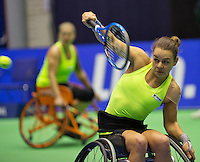 Rotterdam, Netherlands, December 17, 2015,  Topsport Centrum, Lotto NK Tennis, Wheelchair lady's doubles: Marjolijn Buis (R) and Michaela Spaanstra (NED)<br /> Photo: Tennisimages/Henk Koster