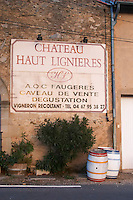 Chateau haut Ligieres wine shop, winery and tasting room. Faugeres. Languedoc. France. Europe.