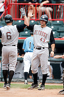June 25, 2009:  Designated Hitter Jamie Romak (43) of the Altoona Curve greets Jeff Corsaletti after a home run during a game at Jerry Uht Park in Erie, PA.  The Altoona Curve are the Eastern League Double-A affiliate of the Pittsburgh Pirates.  Photo by:  Mike Janes/Four Seam Images